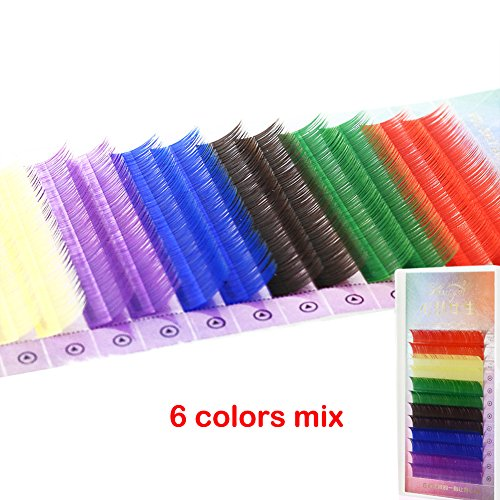 Scala 12rows/tray, Mixed 6 Colors ,0.1C Curl Rainbow Colored Eye Lashes Extension ,Faux Mink Soft Individual Fake False Eyelashes,Colorful Nature Long Cilia Eyelash (10mm)