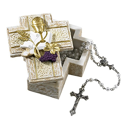 Communion Cross Wheat First - First Communion Cross Shaped Rosary Box with Chalice, Wheat, and Grapes, 3 1/2 Inch