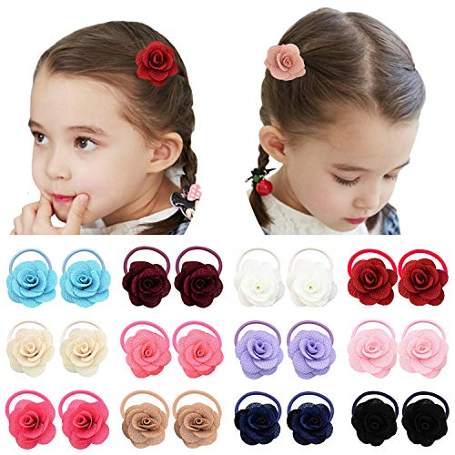 Elesa Miracle 12 Pairs Baby Girls Hair Bow Elastic Ties 1.6 Inch Mini Bow Ponytail Holders Toddler Pony Holder Hair Elastics Value Set (12 Pairs Flower) ()
