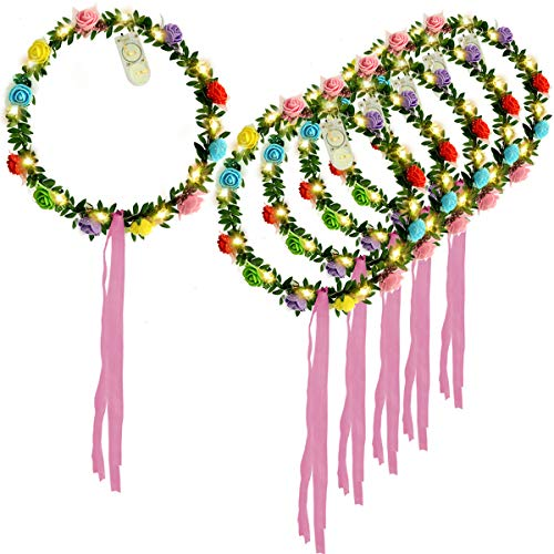 Homeleo 6-Pack Light Up Flower Crown, LED Rose
