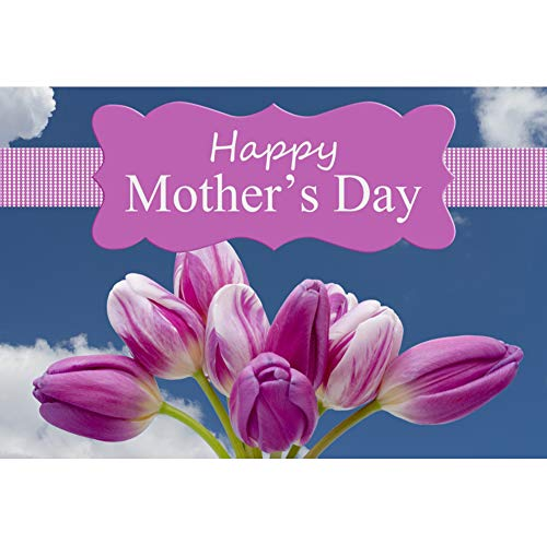 Baocicco 10x7ft Happy Mother's Day Backdrop Violet Tulips Purple Banners Blue Sky White Clouds Photography Background Thanks Mom Theme Party Ceremony Mothers Grandmothers Portrait Studio]()