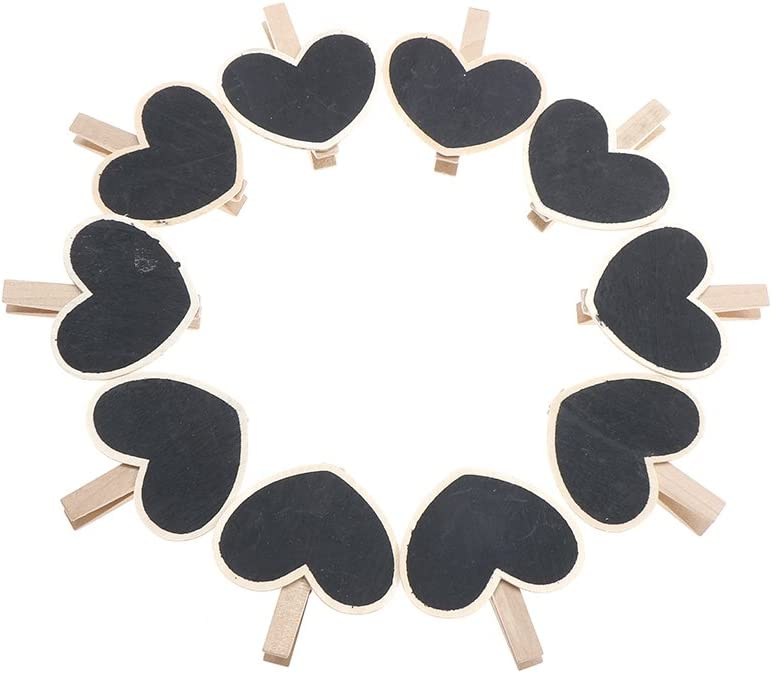 Haiabei 30 Pcs Wood Mini Chalkboard Clips Wooden Blackboard Clips Chalk Board Message Board Tag Signs with Pegs for Memo,Note Taking,Food Label,Wedding Table Number Place Card,Party Decor-Heart