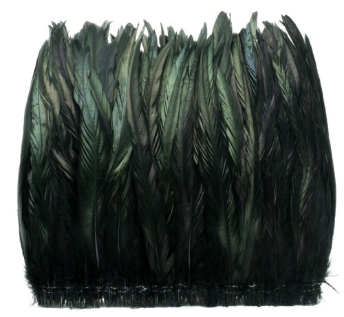 Zucker Feather Products Strung Natural Iridescent Rooster Tails Feather, 10 to 12-Inch, Black