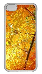 Customized iphone 5C PC Transparent Case - Yellow Orange Autumn Foliage Personalized Cover