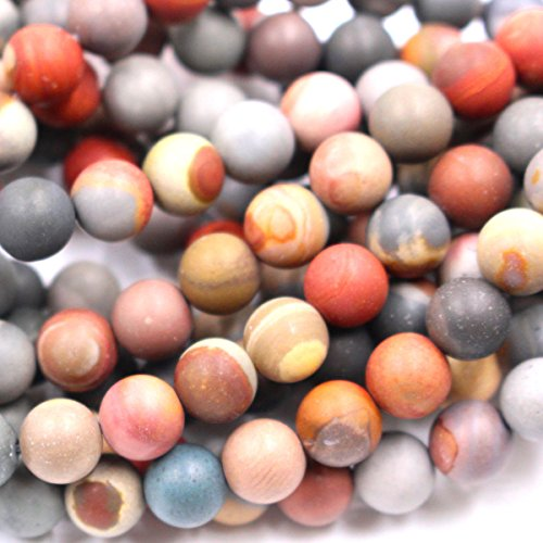 - Natural Unpolished Colorful Ocean Agate Round Jewerlry Making Gemstone Beads (8mm)