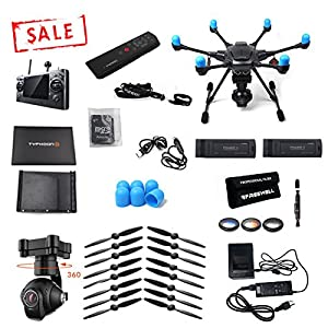 Yuneec Typhoon H with Wizard controller 1 EXTRA FREE battery, 6 EXTRA FREE props, FREE Freewell Filter 3 Pack, and FREE motor covers brought to you by Yuneec