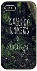 iPhone 4 / 4s Collect moments, not things, black plastic case / Inspirational and motivational life quotes / SURELOCK AUTHENTIC