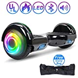 SISIGAD Hoverboard Self Balancing Scooter 6.5' Two-Wheel Self Balancing Hoverboard with Bluetooth Speaker and LED Lights Electric Scooter for Adult Kids Gift UL 2272 Certified - Bright Black
