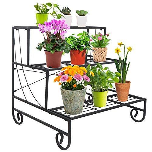 HomGarden Metal Garden Cart Stand Flower Pot Patio Plant Holder 3 Tier Display Rack, Black