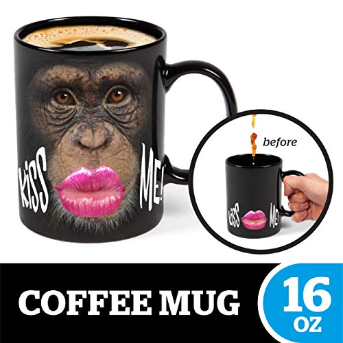 (BigMouth Inc Color Changing Monkey Mystery Mug, Holds 16z, Changes When Hot or Cold, Ceramic Coffee Cup, Novelty Mug)
