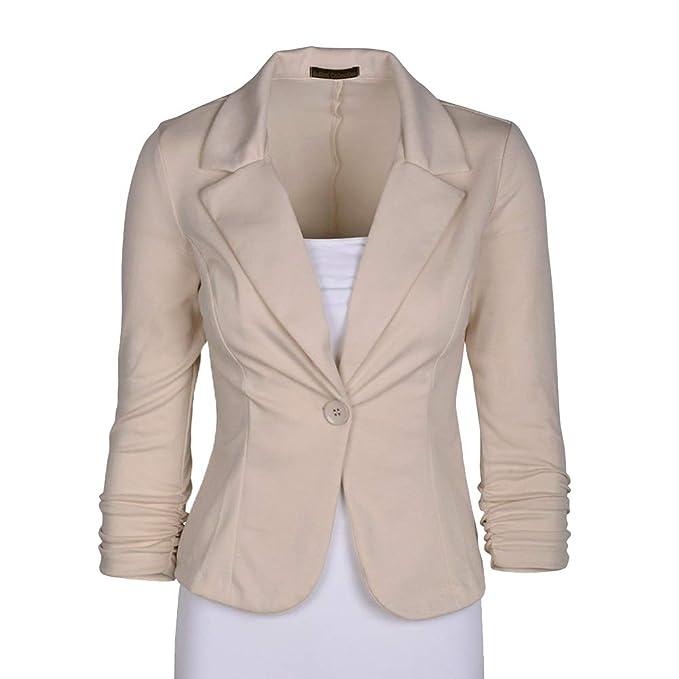 Mujer Abrigo Blazer Color Sólido Traje Slim Chaqueta Blazer: Amazon.es: Ropa y accesorios