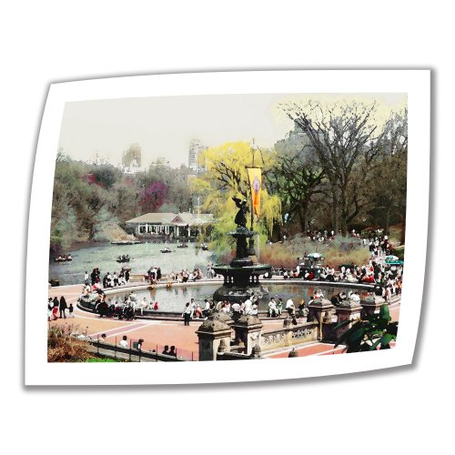 Art Wall Bethesda Fountain 36 by 48-Inch Unwrapped Canvas Art by Linda Parker with 2-Inch Accent - Store Bethesda
