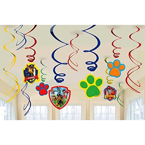 Paw Patrol Party Foil Hanging Swirl Decorations / Spiral Ornaments (12 PCS)- Party Supply, Party Decorations