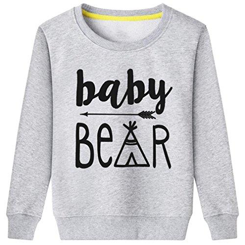 Rui-En Kids Cute Bear Baby Sweatshirt (Gray 2T) (Bear Christmas Jumper Care)
