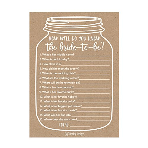 25 Cute Rustic How Well Do You Know The Bride Bridal Wedding Shower or Bachelorette Party Game, Who Knows The Best Does The Groom? Couples Guessing Question Set of Cards Pack Unique Printed Engagement (Ideas Wedding Shower)