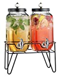 Home Essentials & Beyond Twin 1 gallon Beverage Dispenser with Knob on Stand, Clear