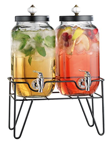 Home Essentials & Beyond Twin 1 gallon Beverage Dispenser with Knob on Stand, Clear by Home Essentials & Beyond