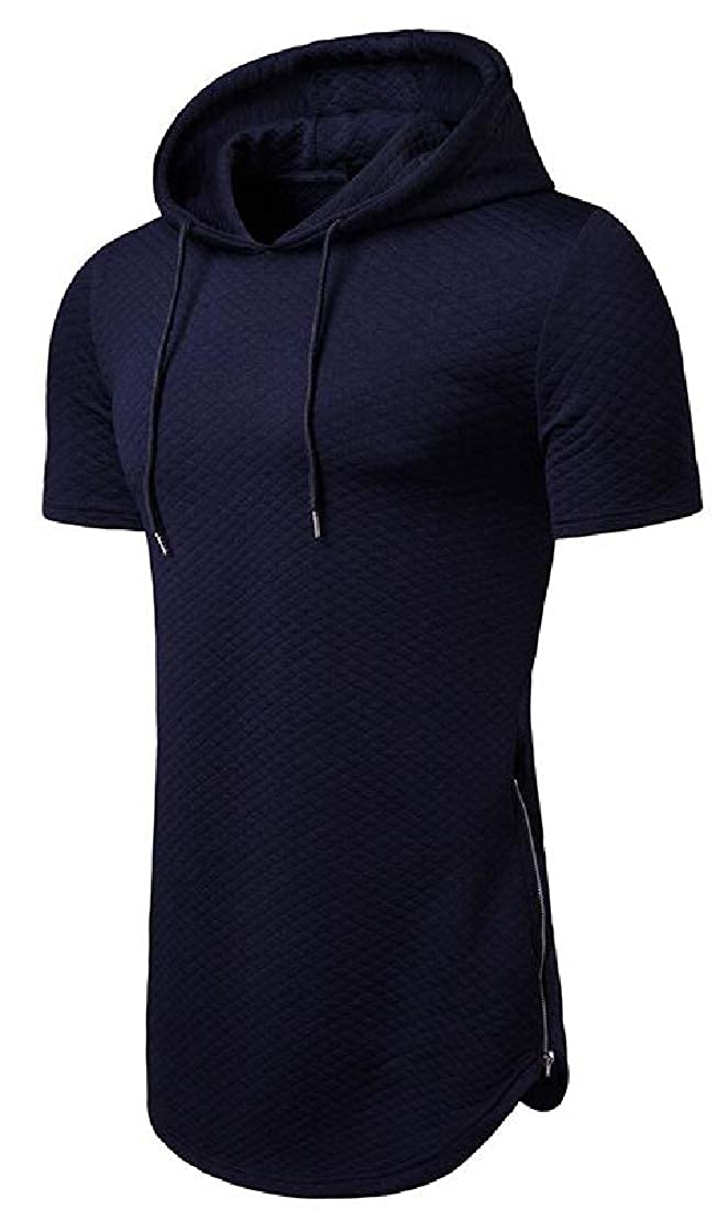 SHOWNO Mens with Zip Deco Solid Short Sleeve Hooded Loose Fit Hip Hop T-Shirt Tee