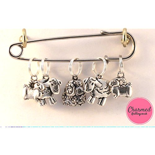 Sheep - 5 Silver Knitting Stitch Markers - the perfect gift for the knitter in your life by Charmed Knitting