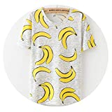 Women Fashion Summer Tees Streetwear Lady Tops White Cartoon Pineapple owl cat Print Round Neck T-Shirt,J,XL