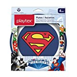 Playtex DC Superfriends Batman and Superman Kids Mealtime Plates, Mixed Pack of 2 Plates, Blue/White