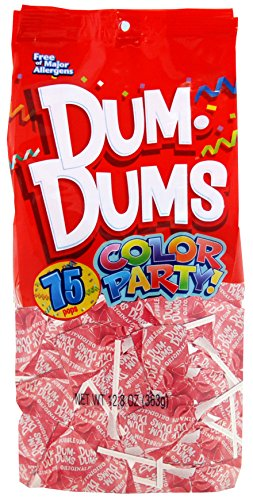 Dum Dums Color Party Lollipops, Light Pink, Bubble Gum Flavor, 12.8 Ounce, 75 Count Bag Bubble Gum Lollipop