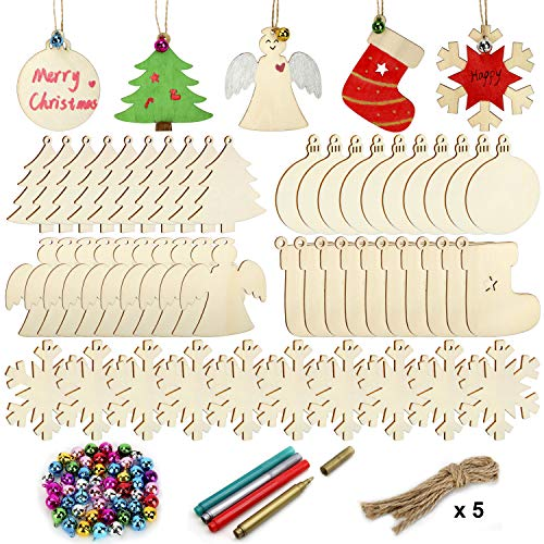 Colovis 50 Pcs Unfinished Wooden Christmas Ornaments,Natural Wood Slices Christmas Tree Ornaments with 50pcs Jute Twine 50 Colorful Bells 4 Color Pens for DIY Art Crafts,Christmas Gift Decoration. (Diy Cheap Gifts Christmas)