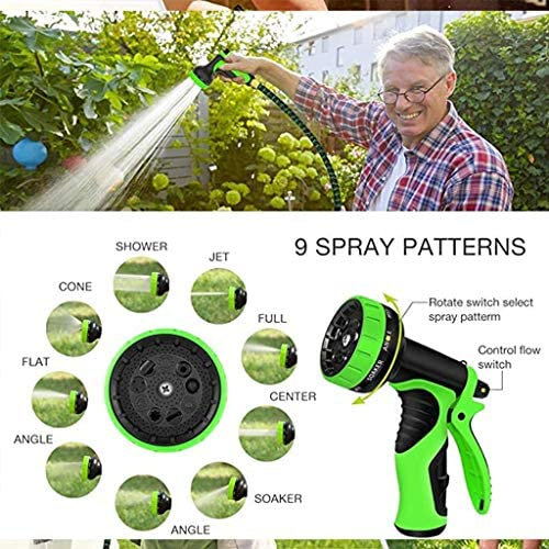 Duan hai rong DHR- Expandable Garden Hose, Flexible Water Hose with 9 High Pressure Spray Nozzle, Solid Brass Connector Fittings, Outdoor Gardening Yard Hoses (Size : 25ft(7.5m))