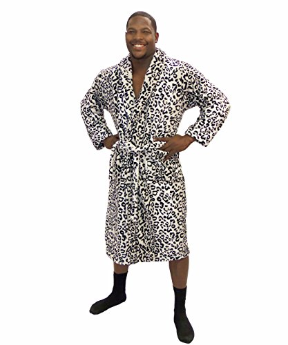 Home Soft Things Men & Women Bathrobe Printed Microfiber Flannel Fleece Cloth Robe, Black White Snow Leopard, L/XL