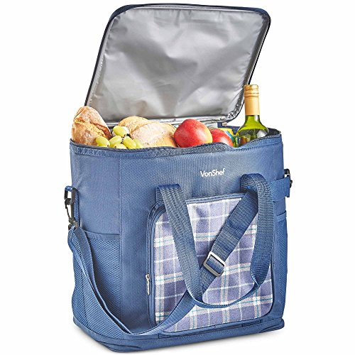 VonShef 30L Soft Cooler Bag/Large Outdoor Lunch Tote with Insulted Lining for Picnics, Camping, Beach (Picnic Classic Llc Cooler)