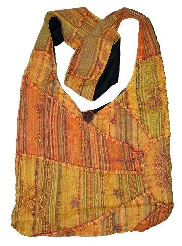 Orange Embroidered Peace and Sunrise Sling Purse Handbag