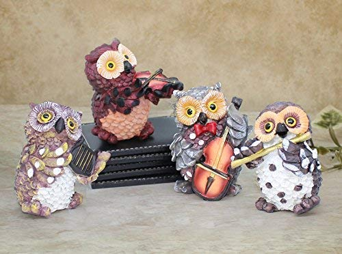 TIED RIBBONS Decorative Owl Playing Musical Instruments Resin Showpiece for Office Décor,Table,Dining Room,Home Decoration and Gifts (Set of 4)