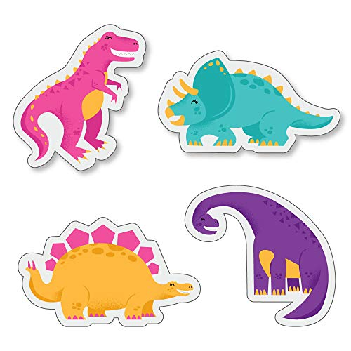 Big Dot of Happiness Roar Dinosaur Girl - DIY Shaped Dino Mite T-Rex Baby Shower or Birthday Party Cut-Outs - 24 -
