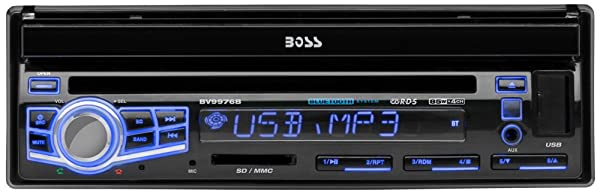 BOSS AUDIO BV9976B Single-DIN 7 inch Motorized Touchscreen DVD Player Receiver, Bluetooth, Wireless Remote
