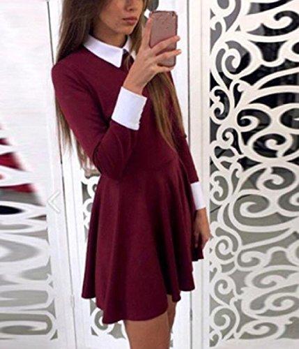 Lapel Wine Long Red Skirt Dress A Line Sleeve Coolred Women Waist RwxTCqEU5