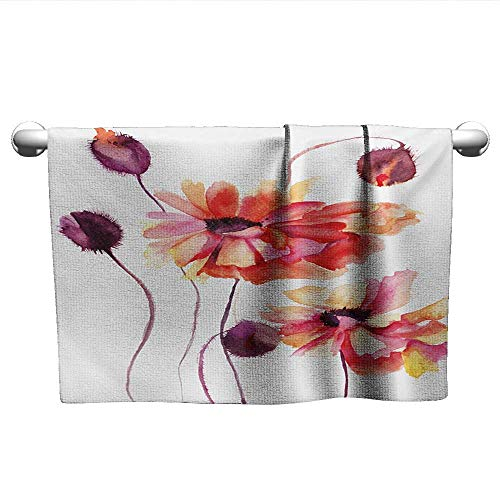 alisoso Floral,Kids Towels Watercolor Painting Poppy Flowers and Buds Artistic Spring Nature Design Pool Gym Towels Peach Scarlet Purple W 20