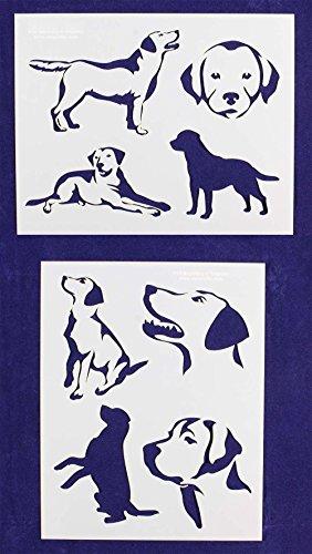 Labrador Retriever Dog Stencils - 2 Piece Set - 8 X 10 Inches