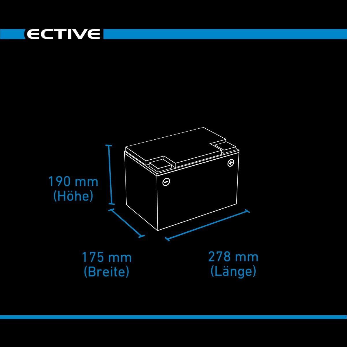 ECTIVE 12V 80Ah zyklenfester AGM Blei-Akku Versorgungsbatterie VRLA Starterbatterie Semi Cycle SC80 wartungsfrei