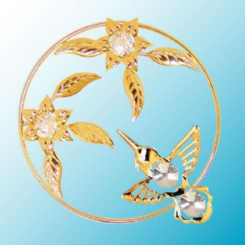 24k Gold Plated Hummingbird in a Flower Ring - Sun Catcher or Magnet - Clear Swarovski Crystal ()