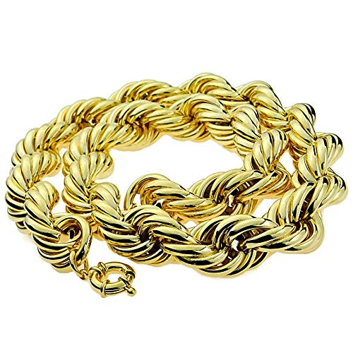 - Bling Cartel Huge Mens 14k Gold Plated Chain Hollow Rope Dookie 25MM Wide x 30