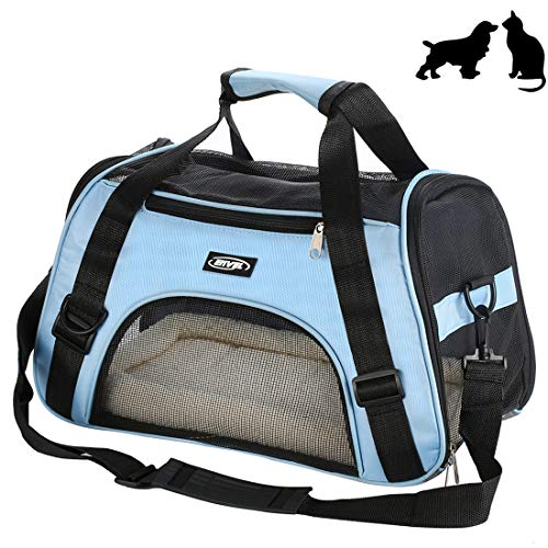 Soft-Sided Pet Carrier, Low Profile Travel Tote with Cozy and Soft Dog Bed, Portable, Collapsible, Airline Approved, Travel Friendly (Large Carrier)
