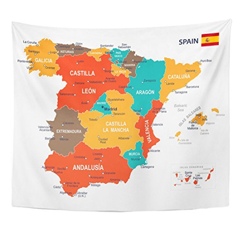 TOMPOP Tapestry Blue Government of Spain Map Brown Spanish City Home Decor Wall Hanging for Living Room Bedroom Dorm 50x60 Inches
