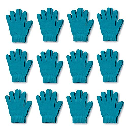 Magic Gloves Childrens (Children Warm Magic Gloves 12 Pairs Toddler Winter Gloves Baby Girls Knit Gloves(2 to 6 years old) (Teal))