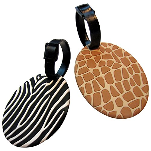 Safari Theme Luggage Tags Set in Stylish Zebra and Giraff Pattern (Theme Tag Luggage)