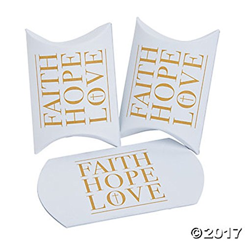 Fancy Favor Box (24 CHRISTMAS HOLIDAY SMALL PILLOW BOXES ~ FAITH HOPE LOVE ~ PARTY FAVOR BOXES ~ FANCY AND ELEGANT)
