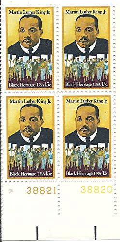 Martin Luther King Stamp (1979 US Postage Stamp Plate Block Of 4 Black Heritage 15 Cent Martin Luther King Jr. MNH Scott # 1771)