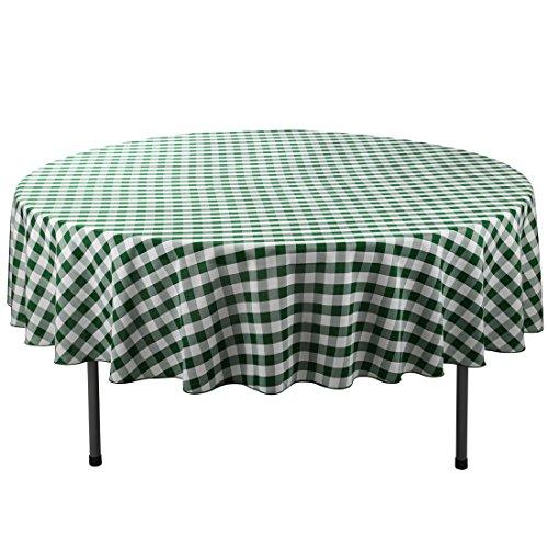 E-TEX 90-Inch Round Polyester Tablecloth Green & White Checker