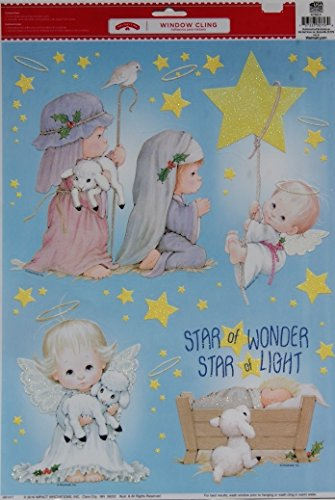 Christmas Reusable Window Clings - Kids Nativity Scene with Glitter Accents - 11.75'' x 17'' (Scene Accent)