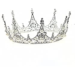 70ILY Royal Women Tiara Medieval Ballot style Bridal Wedding Hair Accessories Silver Hair Jewelry