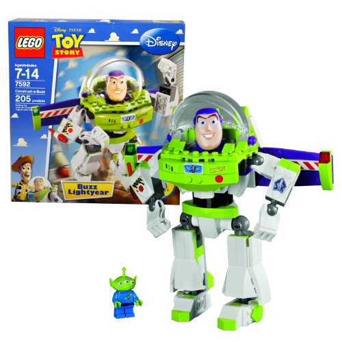 Lego Year 2010 Disney Pixar Toy Story Series 7 Inch Tall Figure Set # 7592 - Construct-a-Buzz BUZZ LIGHTYEAR with Winged Jetpack, Closable Visor and Arm-Mounted, Flick-Launching Laser Cannon Plus Green Alien Minifigure (Total Pieces: 205)
